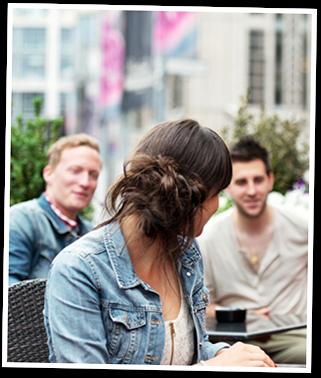 Girl talking to Men Photo